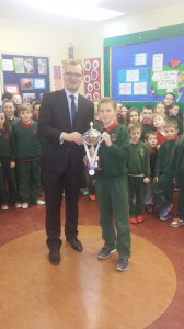 Ciaran receiving his individual All Ireland Cup from MATHletes 2014