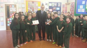 4th class receiving the MATHletes cup from John Paul Phelan