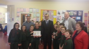 John Dermody (Principal) John Paul Phelan (TD Carlow/Kilkenny) David Maher (MATHletes representative) Catherine Connery (Chairperson BOM) and 4th class